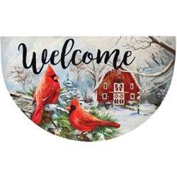 Winter Cardinal Welcome Mat