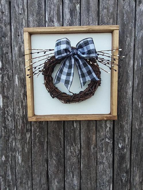 Grapevine Wreath Sign- Blk/White Berries