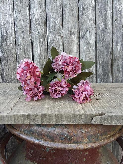 Mulberry Petite Hydrangea Pick