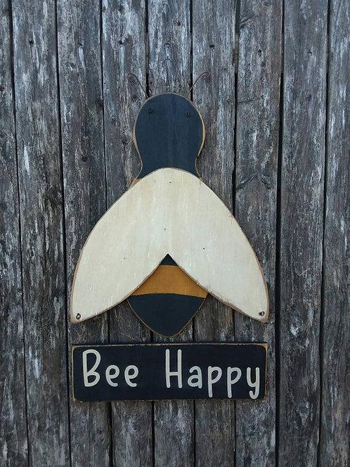 """Primitive """"Bee Happy"""" Door Hanger/Sign"""