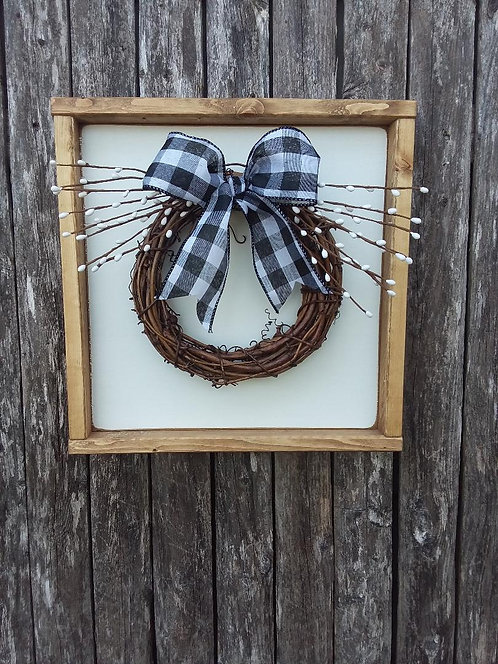 Grapevine Wreath Sign- White Berries