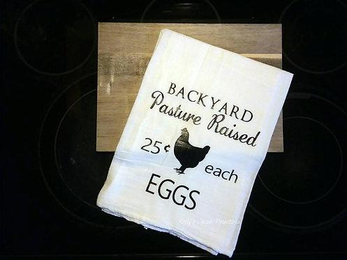 Backyard Eggs Tea Towel