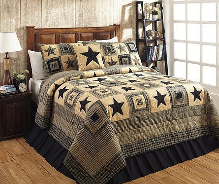 Colonial Star Blk/Tan Quilt 3-Piece Set