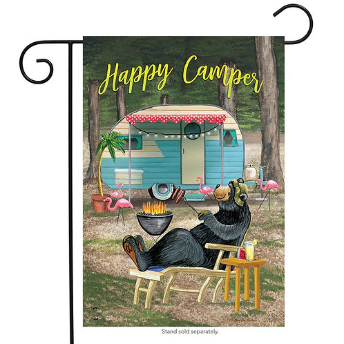 Happy Camper Bear Garden Flag