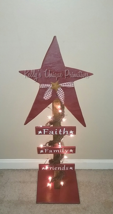 Faith Family Friends Lighted Star Post