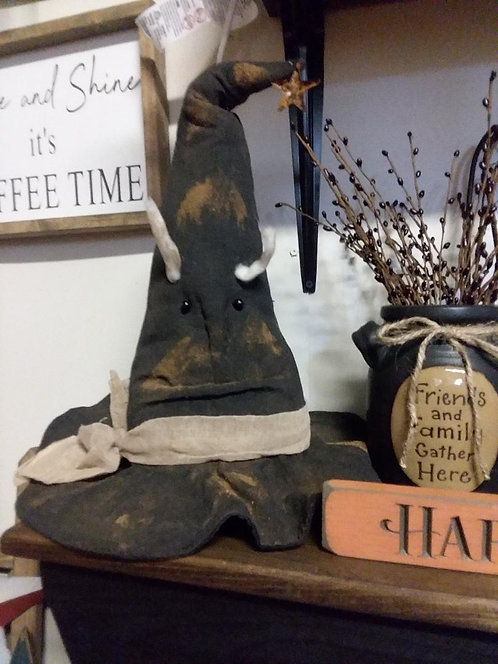 Primitive Grungy Witch Hat w/face