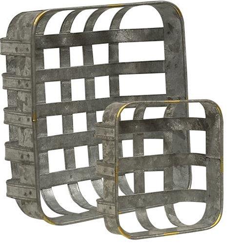 Galvanized Metal Baskets- S/2