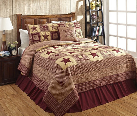 Colonial Star Burg/Tan Quilt 3- Piece Set