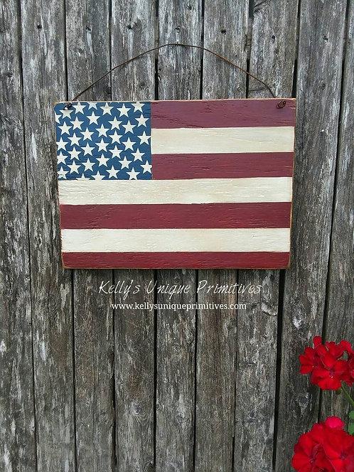 Primitive American Flag Door Hanger