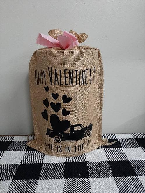 Happy Valentine's Day Burlap Bag