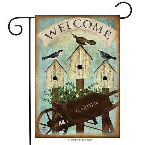 Wheelbarrow Welcome Garden Flag