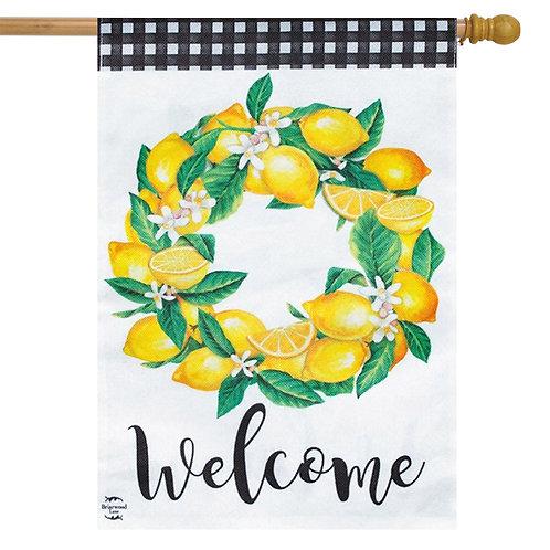 Lemon Wreath Burlap House Flag