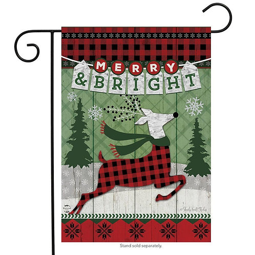 Merry & Bright Reindeer Garden Flag