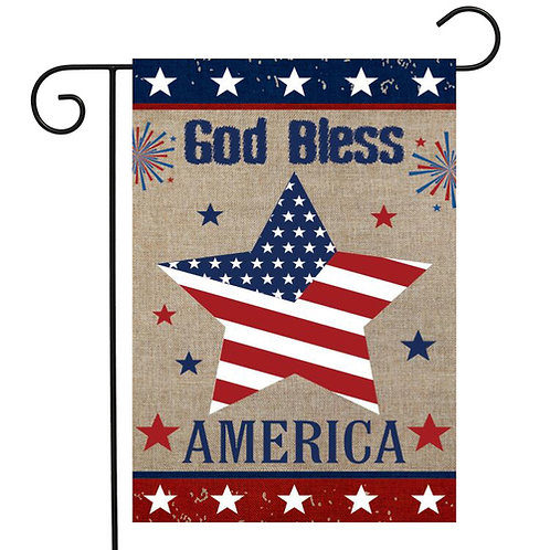 God Bless America Burlap Garden Flag