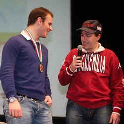 O.R. premia G.Razzoli al teatro Ariosto per la medaglia olimpica (nelle foto Sonia MAsini pres.della