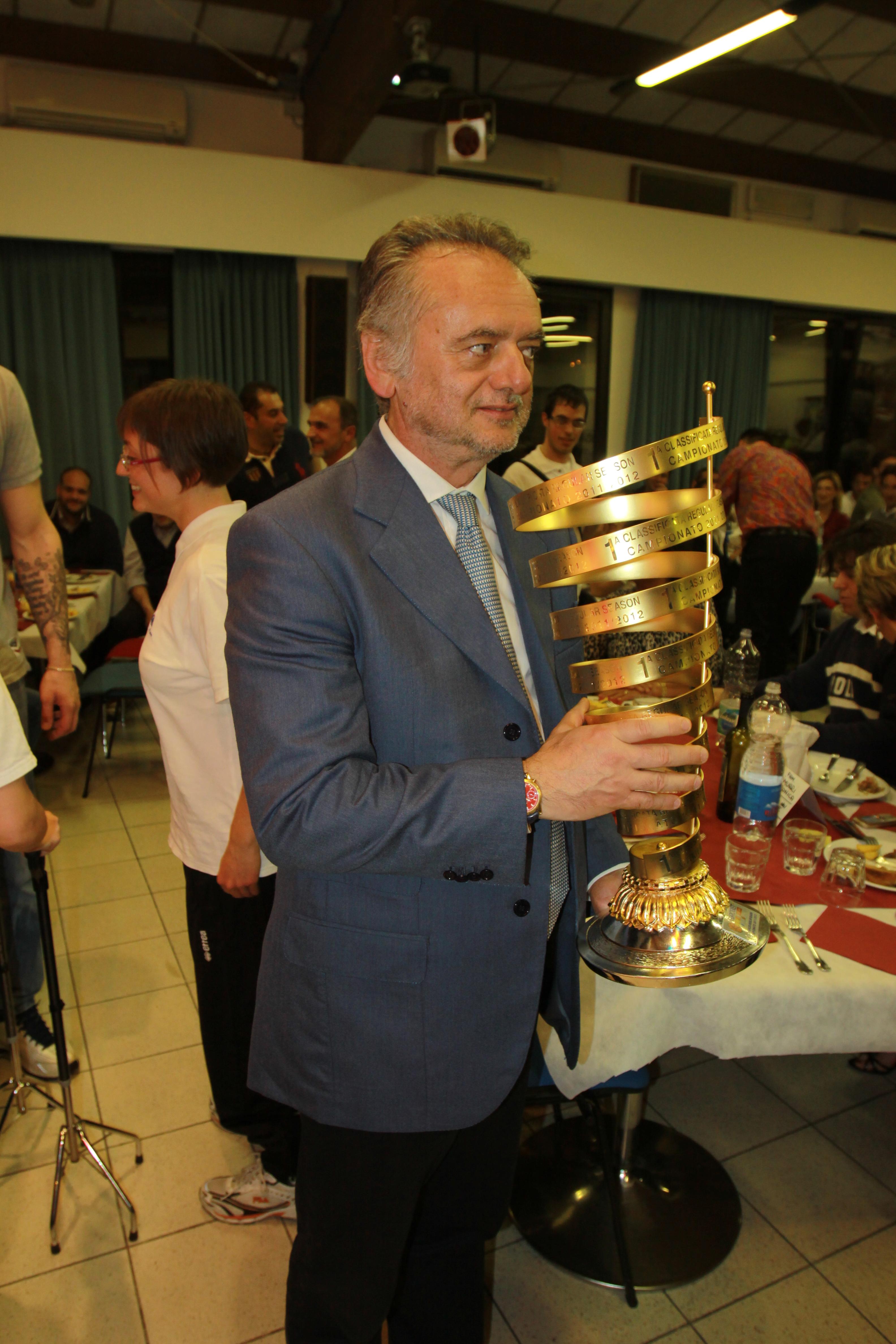 Gala S.Landi con la coppa vittoria campionato Pall.Reggiana