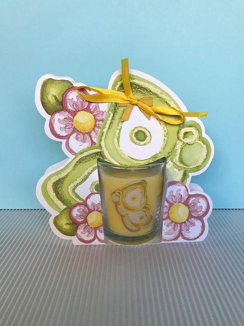 Candela Colour Your Easter farfalla con fiori - melograno Thun