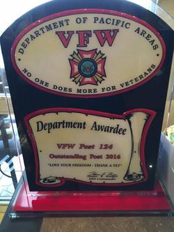 VFW Post 124 Reciepient of All American Post 2016
