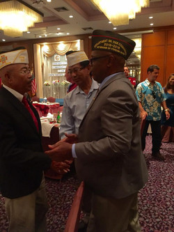 DPA Cdr Moses Congratulating Cdr Larry Senato and QM JoeCat for making All State