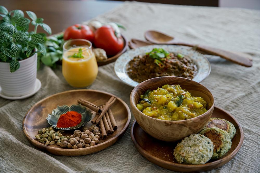Mayur Indian Kitchen,Mushroom and sabudana khichdi,Hara bhara kebab
