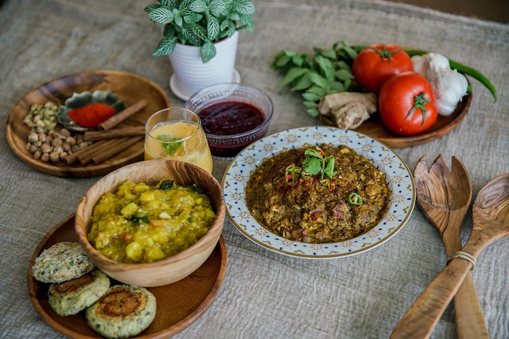 Mayur Indian Kitchen,Mango Lassi,Beetroot chutney,Mushroom Palak,