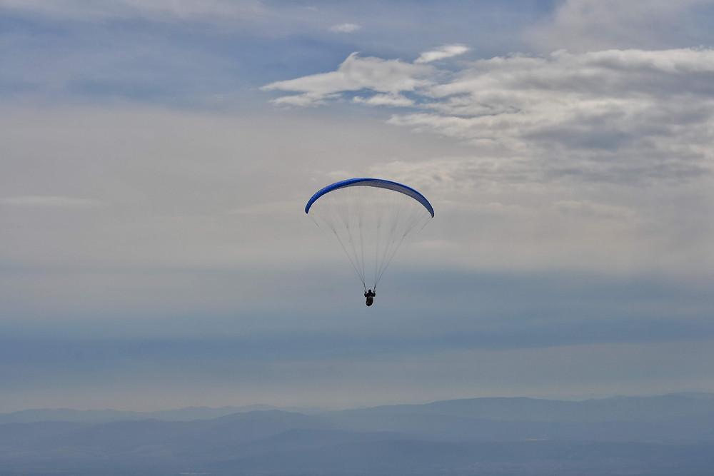 Paragliding over Buzludzha in Bulgaria