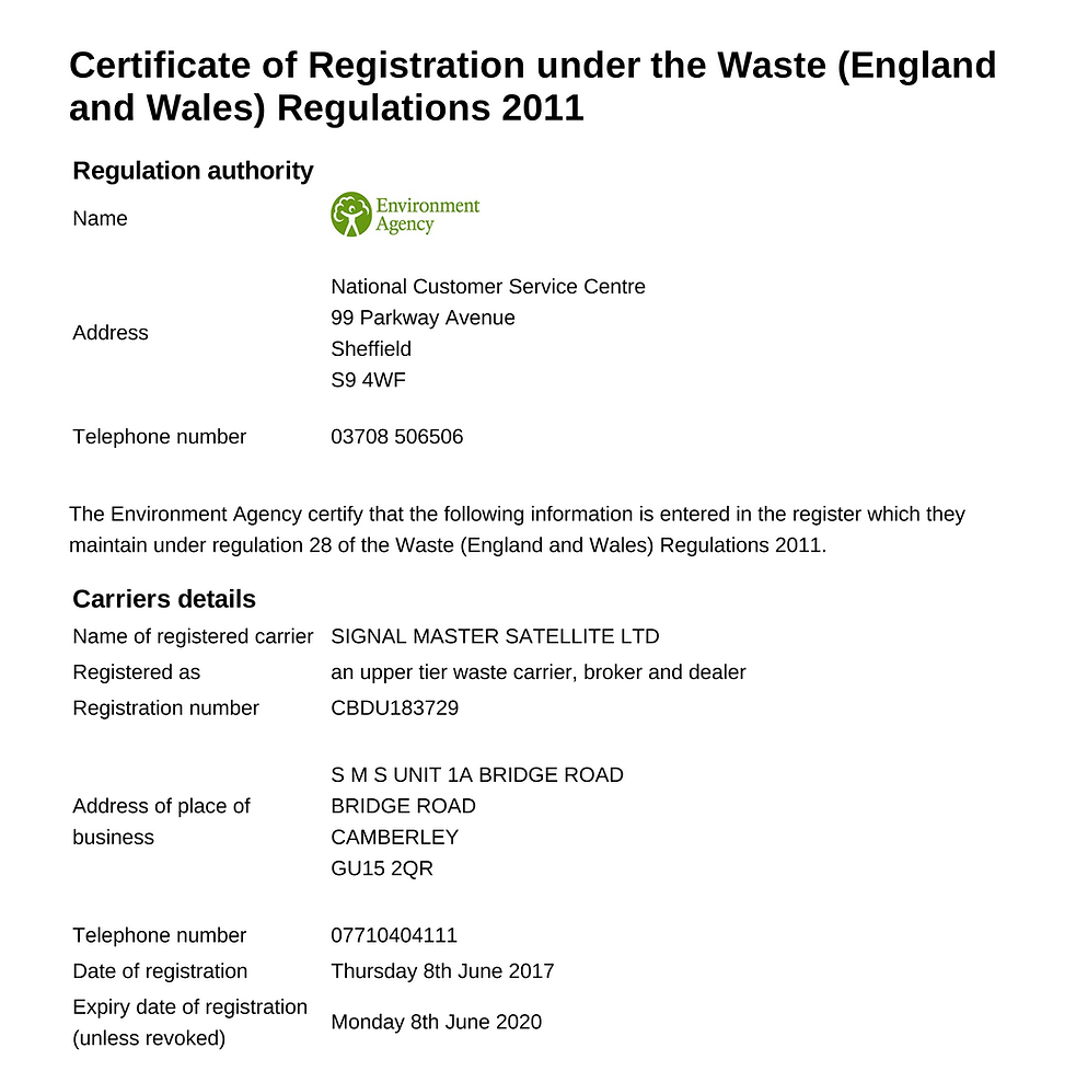 Certificate of Registration under the Waste of SMS Recycling