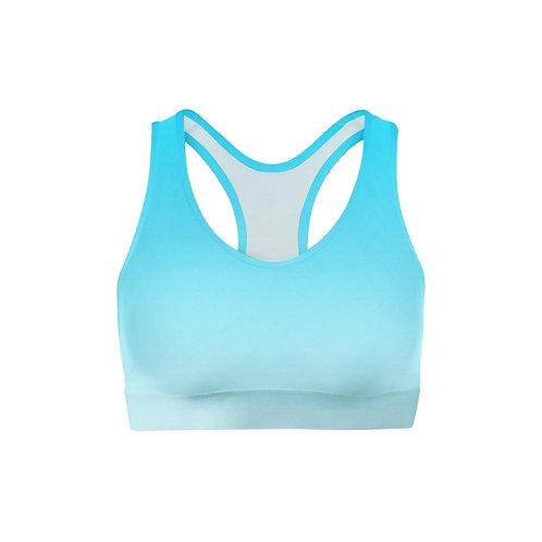 Blue White Ombre Sports Bra