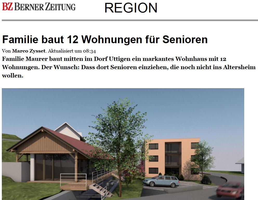 Alterswohnungen Uttigen Sägeplatz Thuner Tagblatt