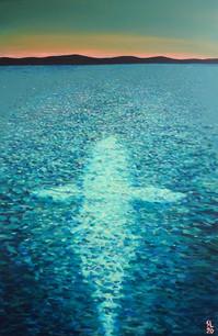 'Snow Whale', 24x36, Acrylic on Canvas, 2020