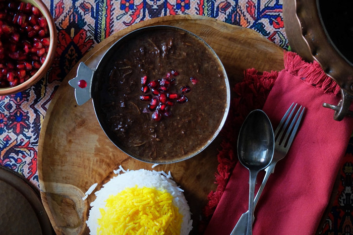 Fesenjoon - Persian Walnut Pomegranate and Chicken Stew