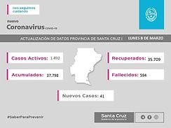 Santa Cruz: se registraron 41 nuevos casos positivos de COVID-19 en la provincia