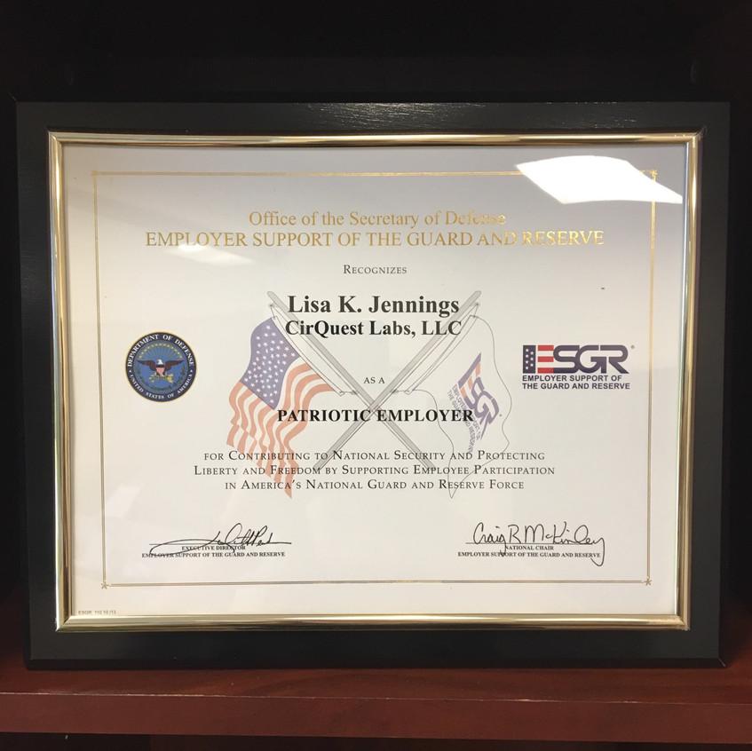 Patriot Award Display 2019
