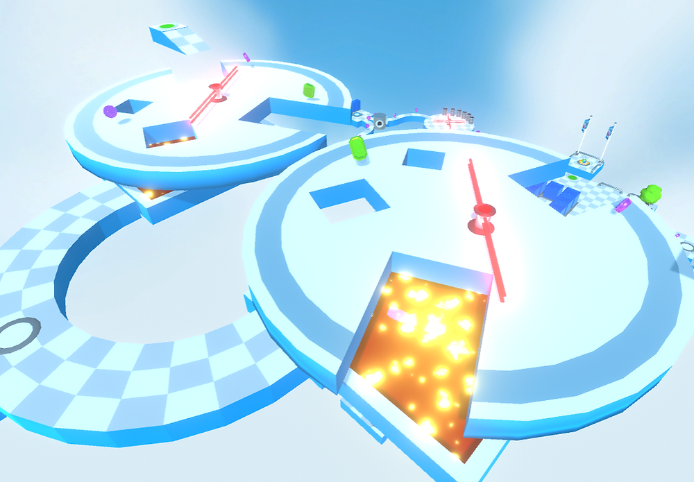 Tricky platforms with tempting rewards await you in Bombing Run!