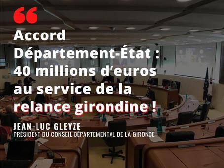 Plan de relance : Un accord à 40 millions d'euros au service des Girondin.e.s !