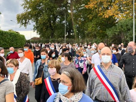 Rassemblement républicain en mémoire de Samuel Paty à Bazas