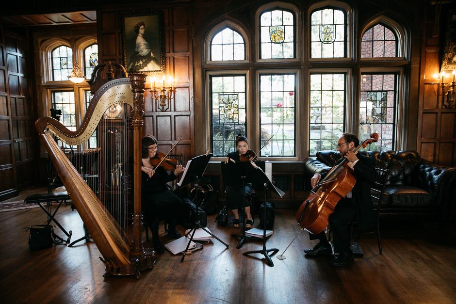 Harp quartet at Thornewood Castle