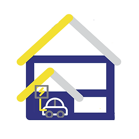 Electric Car in Garage Icon Click to Read about in home ev charging
