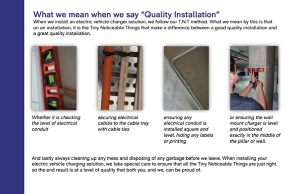 extract from apartment ev charger brochure showing cable runs and tidy installation