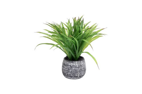 Faux Large Grass Plant in Gray Pot