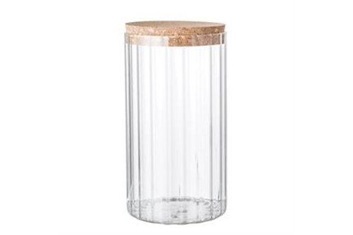 Ribbed Glass & Cork Jar