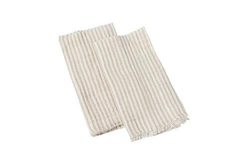 Natural Striped Napkins - Set of 8