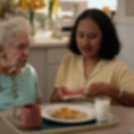 Filipino certified caregiver preparing food for her patient in NY, NJ, CT USA