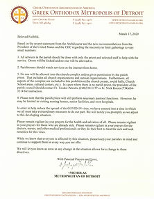 Letter from His Eminence Metropolitan Ni