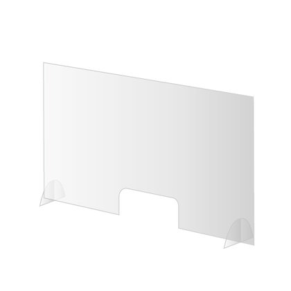 Large acrylic glass sneeze guard with pass through
