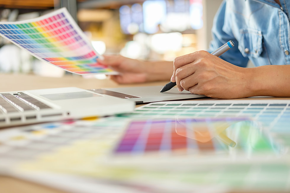 Graphic design and color swatches and pe