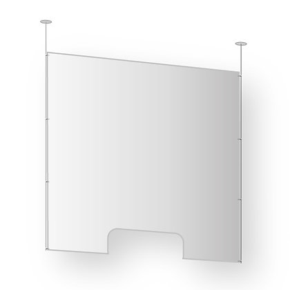Hanging protective screen in acrylic glass with document holder