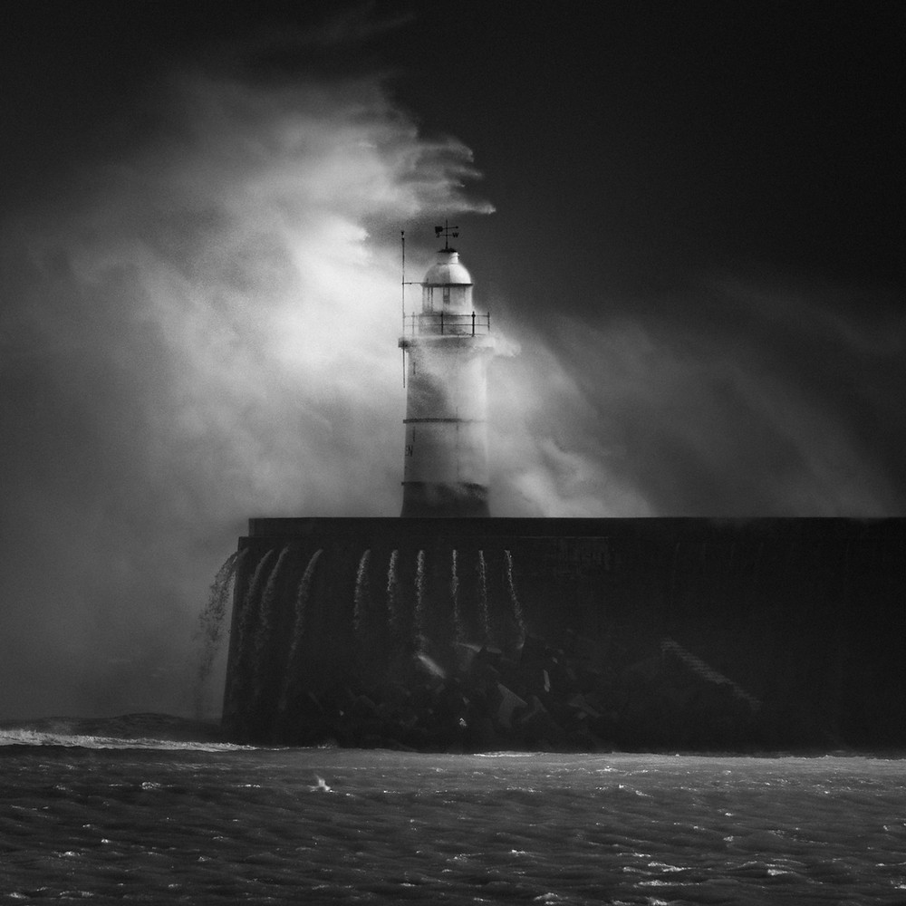 Lighthouse storm, seascape waves