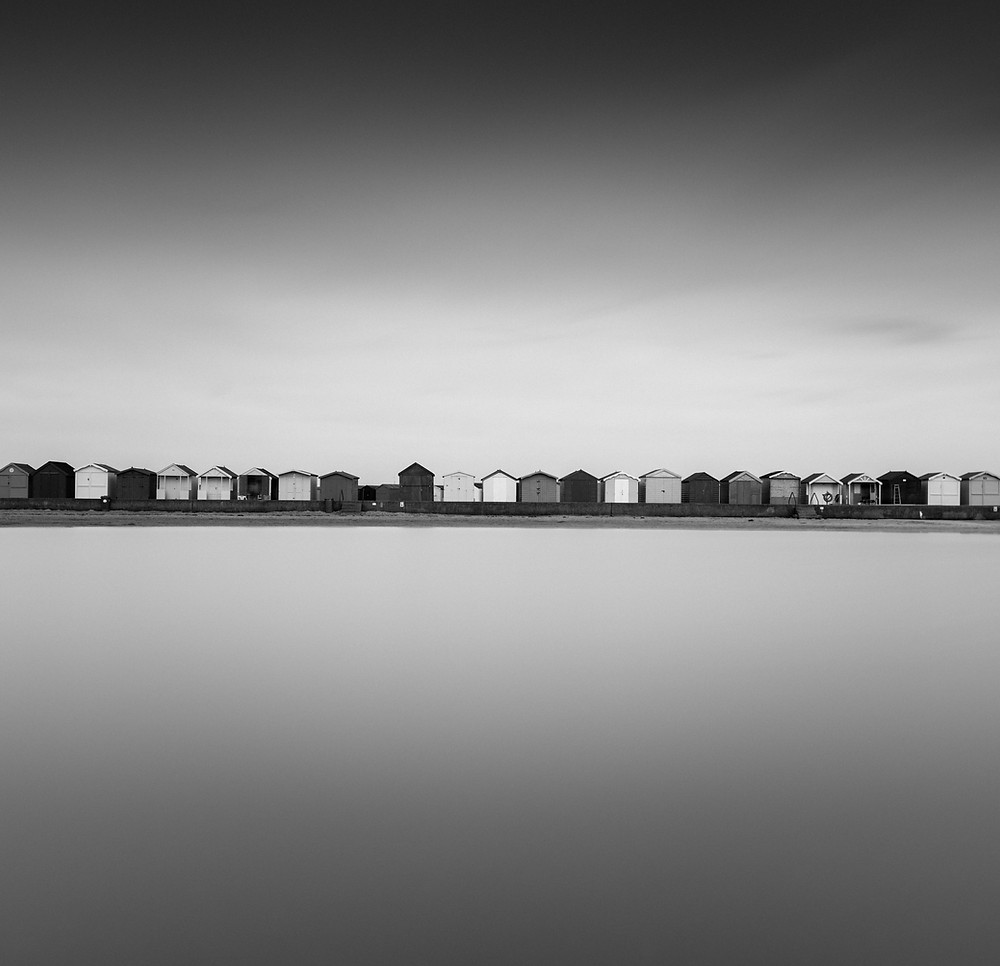 minimal seascape black and white long exposure