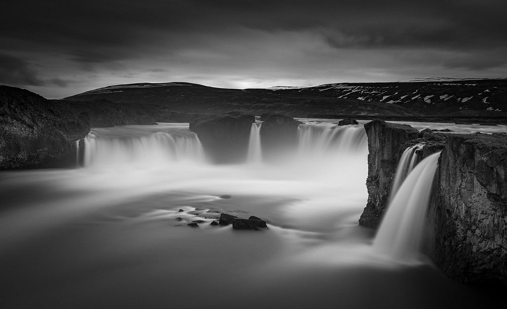 Godafoss Iceland, black and white long exposure